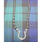 Grey Pearl Horseshoe Necklace