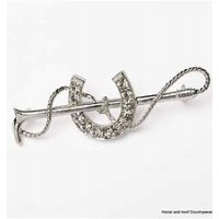 Silver Colour Horseshoe and CZ Stock Pin
